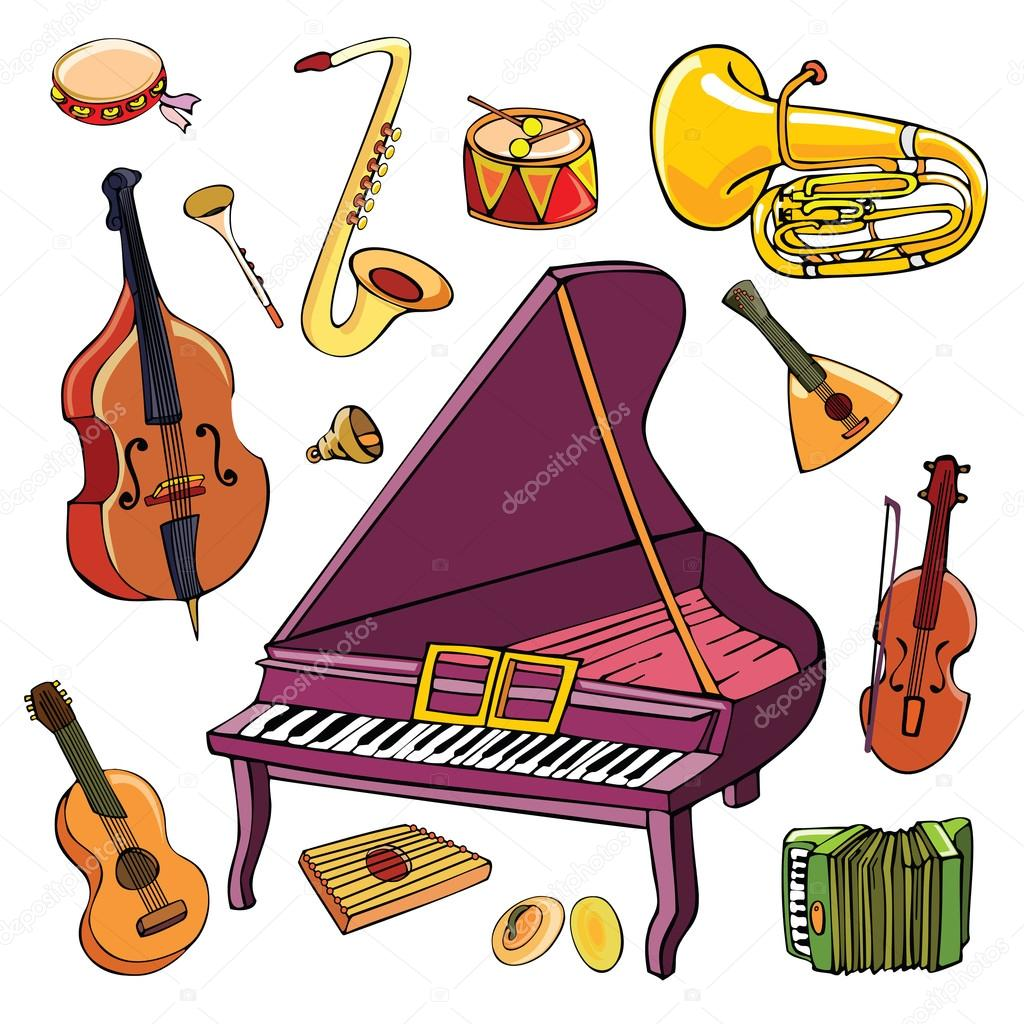 depositphotos 116738740-stock-illustration-artoon-musical-instruments-vector
